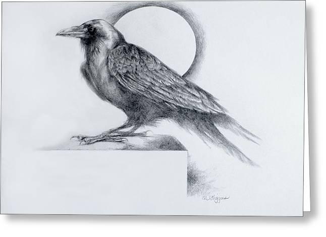 Raven Drawings Greeting Cards - Black Watch Greeting Card by Derrick Higgins