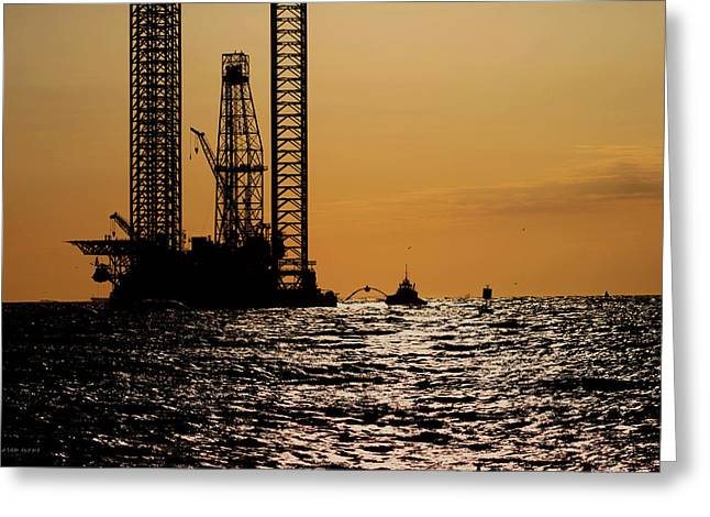 Sea Platform Greeting Cards - Black Water Rig Greeting Card by Aaron Evans