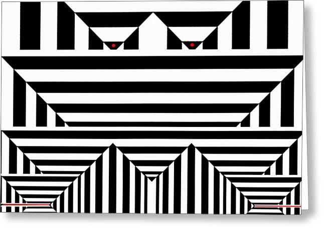 Shower Curtain Greeting Cards - Black White and Red II Greeting Card by Rafael Salazar