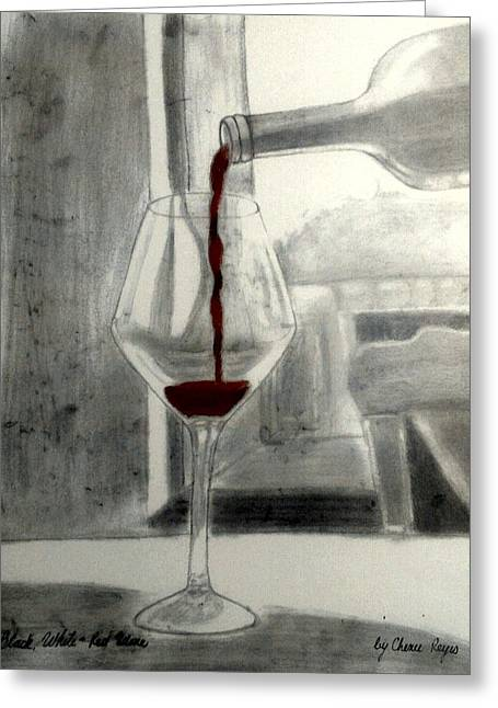 Table And Chairs Drawings Greeting Cards - Black White and Red Wine Greeting Card by Chenee Reyes