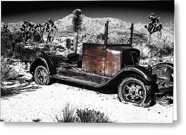 Rusted Cars Greeting Cards - Black White and Rust Greeting Card by Joseph S Giacalone