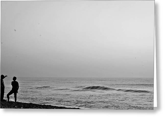 Beaches Reliefs Greeting Cards - Black White beach Greeting Card by Sathish Sen