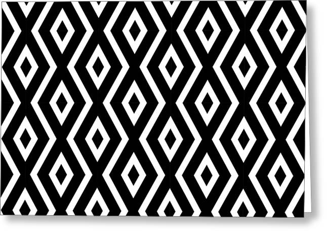 Geometric Style Greeting Cards - Black and White Pattern Greeting Card by Christina Rollo