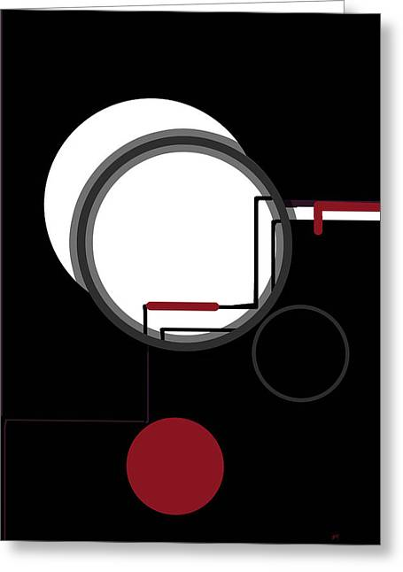 New Technology Greeting Cards - Black White Red Abstract Greeting Card by Gerlinde Keating - Keating Associates Inc