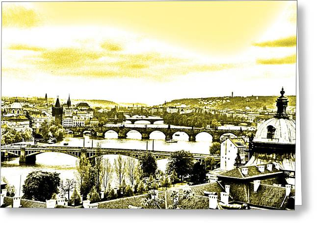 Czech Pyrography Greeting Cards - Black White Yellow Prague Greeting Card by Steffen Schumann