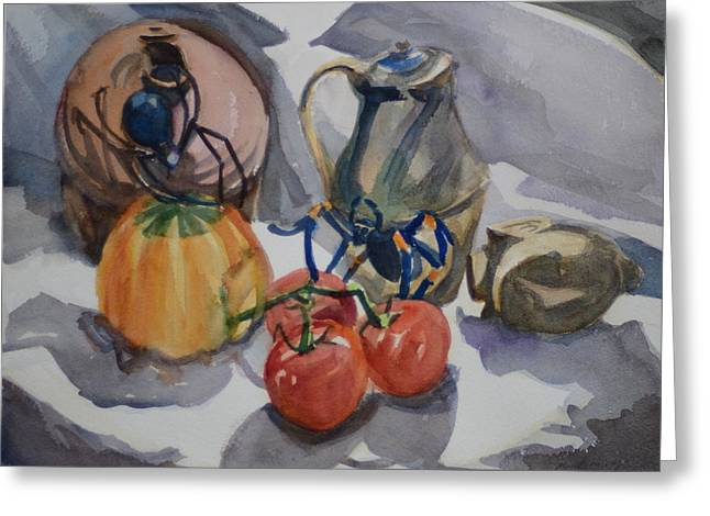Black Widow Paintings Greeting Cards - Black Widow and Orange kneed Tarantula With Tomatoes Squash and Buddha Head. Greeting Card by Margaret Montgomery