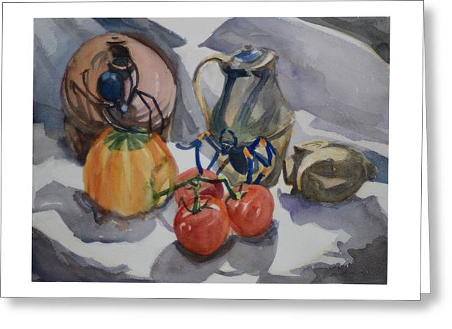 Black Widow And Orange Kneed Tarantula With Tomatoes Squash And Buddha Head. Greeting Card by Margaret Montgomery