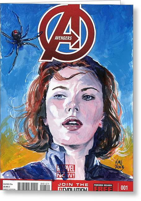 Black Widow Paintings Greeting Cards - Black Widow Avengers Greeting Card by Ken Meyer jr