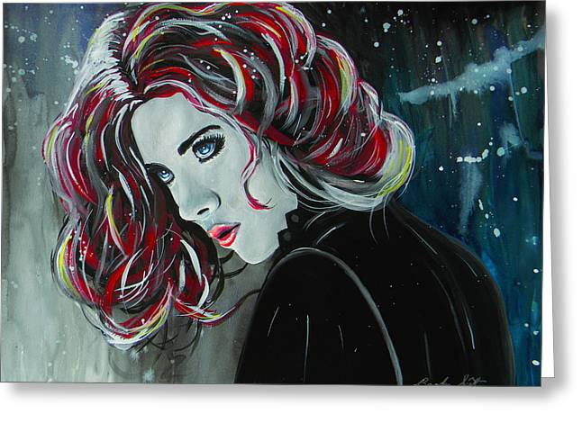 Black Widow Paintings Greeting Cards - Black Widow Greeting Card by Brandon  Scott