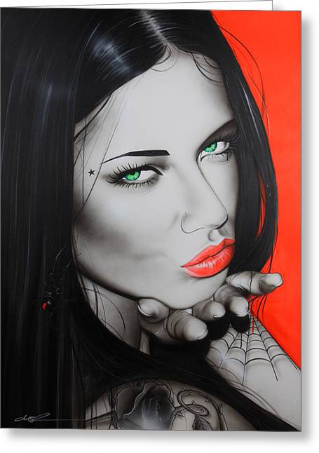Adriana Lima - ' Black Widow ' Greeting Card by Christian Chapman Art