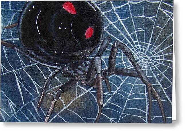 Black Widow Greeting Card by Debbie LaFrance