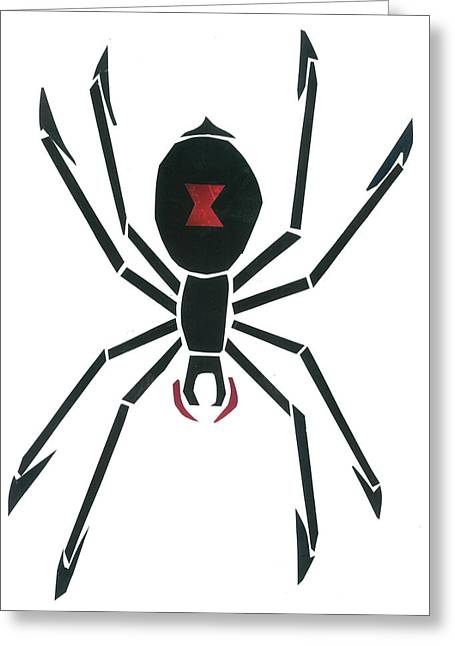 Recently Sold -  - Invertebrates Mixed Media Greeting Cards - Black Widow Greeting Card by Earl ContehMorgan