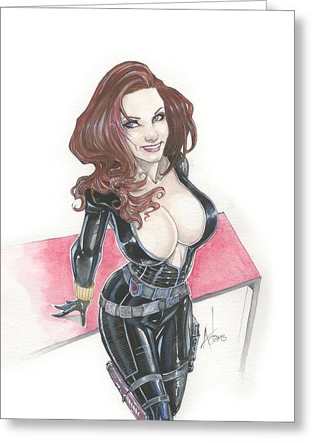 Black Widow Drawings Greeting Cards - Black Widow Greeting Card by Jimmy Adams