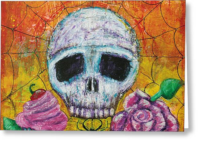 Sour Mixed Media Greeting Cards - Black Widow Greeting Card by Laura Barbosa