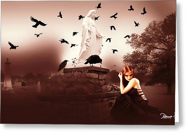 Pierre Chamblin Greeting Cards - Black Widow Greeting Card by Pierre Chamblin