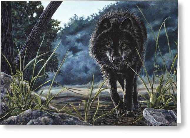 Wolf Greeting Cards - Black Wolf Hunting Greeting Card by Lucie Bilodeau