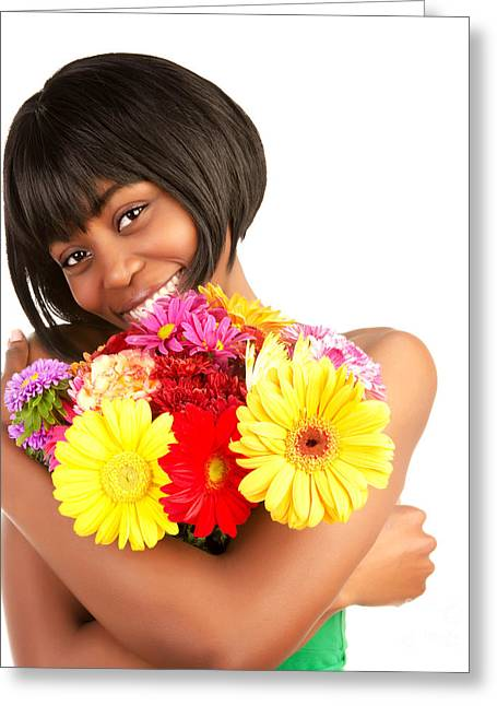 African-american Photographs Greeting Cards - Black woman with gerbera flowers Greeting Card by Anna Omelchenko