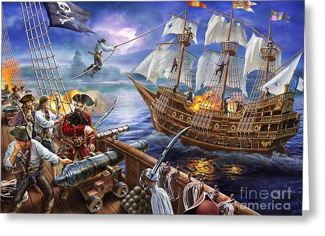 Pirates Greeting Cards - Blackbeard Greeting Card by Adrian Chesterman