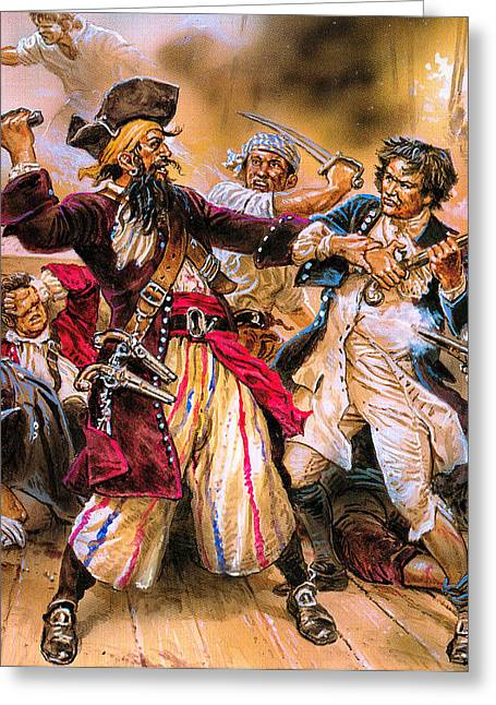 Buccaneer Greeting Cards - Blackbeards Last Fight Against Lieutenant Maynard of the British Navy Greeting Card by Unknown
