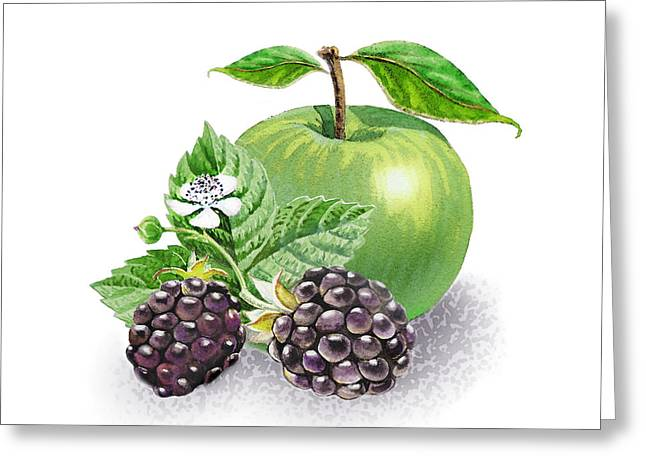 Gift From Nature Greeting Cards - Blackberries And Green Apple Greeting Card by Irina Sztukowski