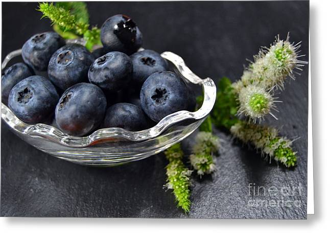 Healthy Greeting Cards - Blackberries on dark background Greeting Card by Blanchi Costela