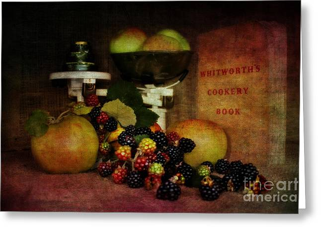 Cook Book Photo Greeting Cards - Blackberry and Apple Pie Greeting Card by ShabbyChic fine art Photography