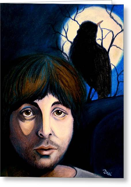 Paul Mccartney Drawings Greeting Cards - Blackbird Greeting Card by Debi Starr