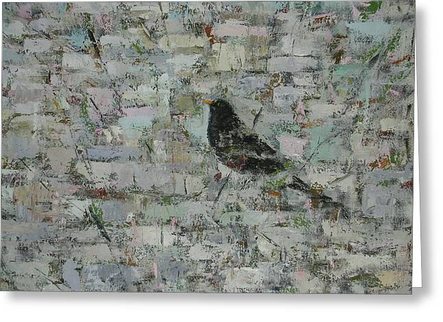 Monochromatic Greeting Cards - Blackbird In Tree Detail, 2012, Oil On Canvas Greeting Card by Ruth Addinall