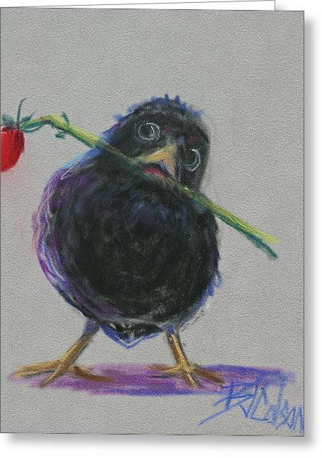 Birds With Flowers Greeting Cards - Blackbird Love Greeting Card by Billie Colson