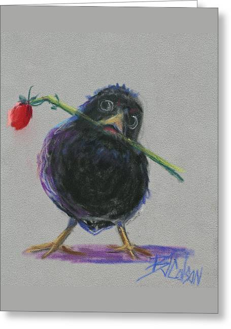 Funny Pastels Greeting Cards - Blackbird Love Greeting Card by Billie Colson