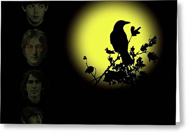 Nighttime Mixed Media Greeting Cards - Blackbird Singing in the Dead of Night Greeting Card by David Dehner