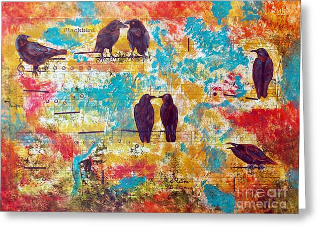 Crow. Bird Music Greeting Cards - Blackbird Greeting Card by To-Tam Gerwe