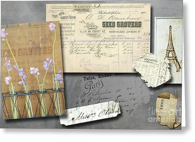 Paris Mixed Media Greeting Cards - Blackboard Art - Vintage Seed Bill - Paris - Eiffel Tower Greeting Card by AdSpice Studios