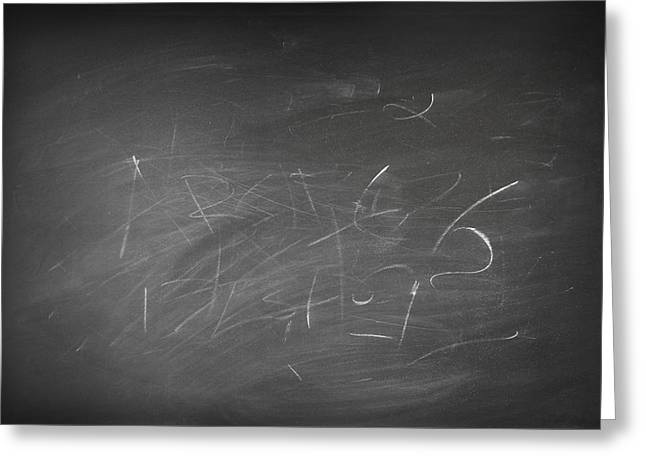 Smudged Greeting Cards - Blackboard Greeting Card by Les Cunliffe