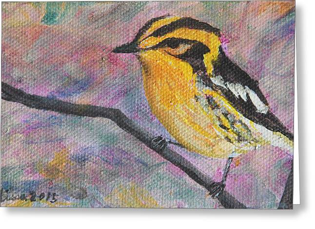 Zoology Paintings Greeting Cards - Blackburnian Warbler - Birds in the Wild Greeting Card by Arlissa Vaughn