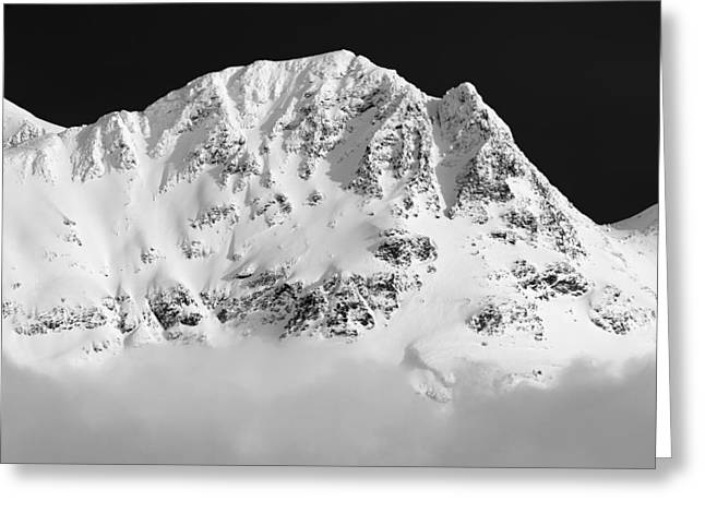 Whistler Greeting Cards - Blackcomb above the clouds in Black and White Greeting Card by Pierre Leclerc Photography