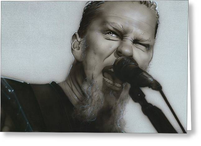 Famous People Prints Greeting Cards - Blackened Greeting Card by Christian Chapman Art