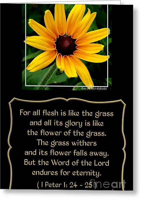 Blackeyed Susan With Bible Quote From 1 Peter Greeting Card by Rose Santuci-Sofranko