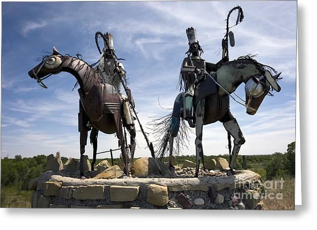 Indian Warrior Sculpture Greeting Cards - Blackfeet Nation Warrior Sculpture Greeting Card by Rafael Macia