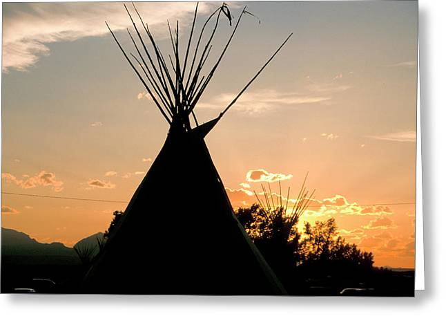 Blackfeet Tepees Made From Canvas Greeting Card by Angel Wynn