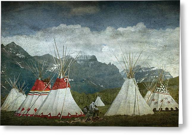 Powwow Greeting Cards - Blackfoot Camp at a Summer PowWow at St. Mary by Glacier National Park Greeting Card by Randall Nyhof