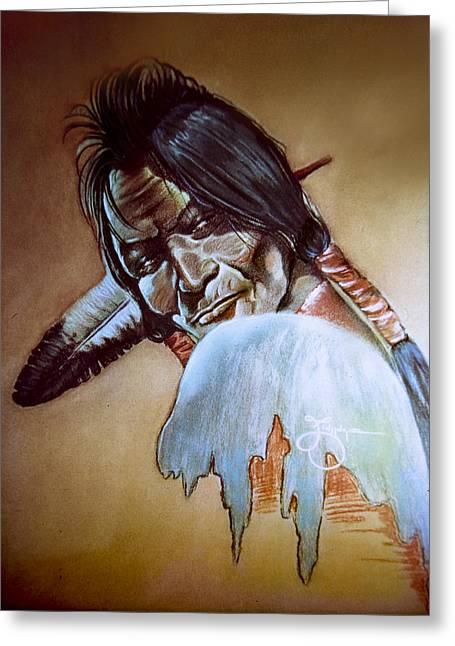 American Eagle Pastels Greeting Cards - Blackfoot warrior Greeting Card by James Eldridge