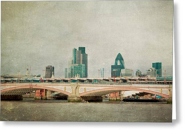 Bridge Greeting Cards - Blackfriars Bridge Greeting Card by Violet Gray