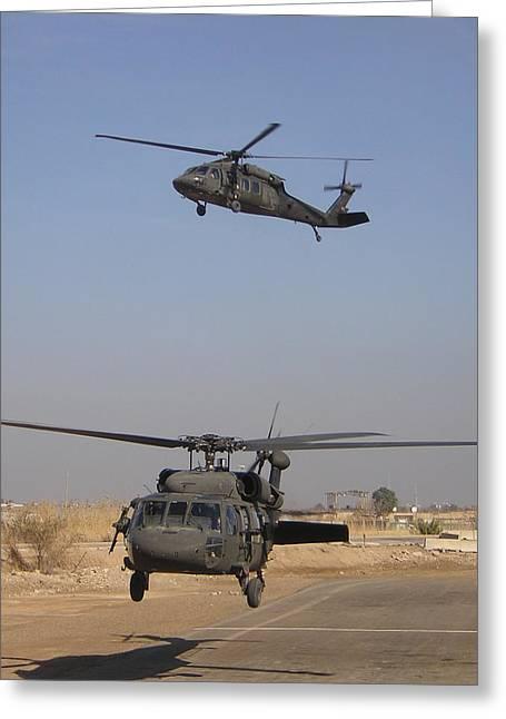 Baghdad Greeting Cards - Blackhawk Departure Greeting Card by Duwayne Williams