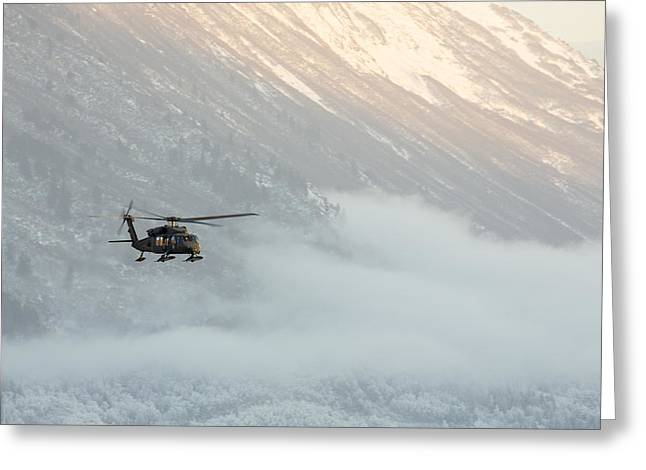 Uh-60 Greeting Cards - Blackhawk in the Mountains Greeting Card by Tim Grams