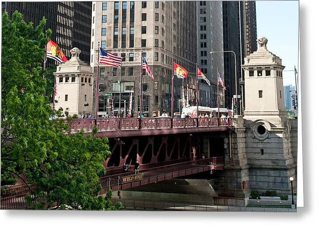 Magnificent Mile Greeting Cards - Blackhawks Bridge Flags Greeting Card by Curtiss Messer
