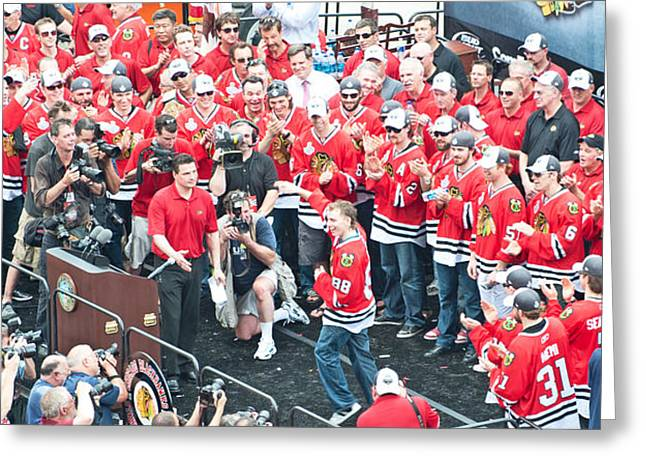 Magnificent Mile Greeting Cards - Blackhawks Celebration Kane Greeting Card by Curtiss Messer