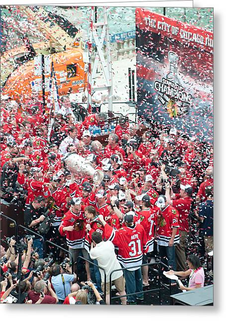 Blackhawks Celebration Stage Greeting Card by Curtiss Messer