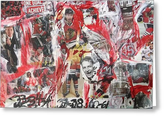 Blackhawks Collage Greeting Card by John Sabey Jr