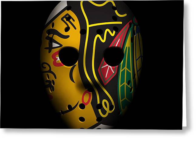 Cup Greeting Cards - Blackhawks Goalie Mask Greeting Card by Joe Hamilton